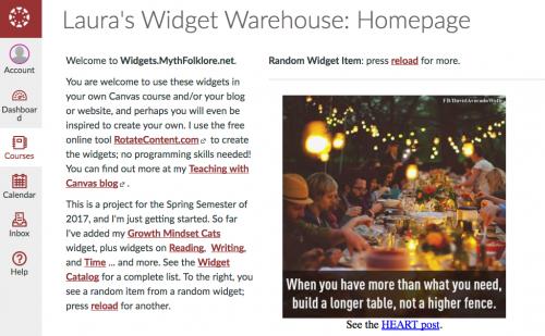 Widget Warehouse Update – Teaching with Canvas