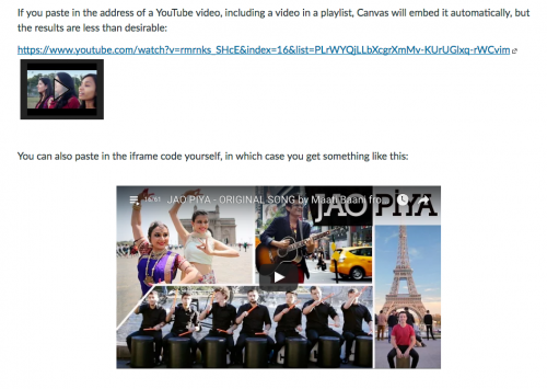 Notes on YouTube Playlists – Teaching with Canvas